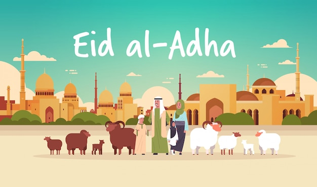 Happy eid al-adha mubarak muslim holiday concept  family standing with white and black flock of sheep festival of sacrifice nabawi mosque building cityscape flat full length horizontal