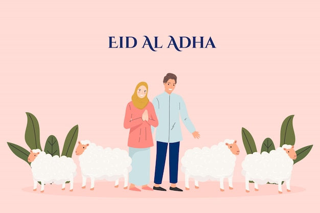 Happy eid al-adha mubarak muslim holiday concept. people with  sheep