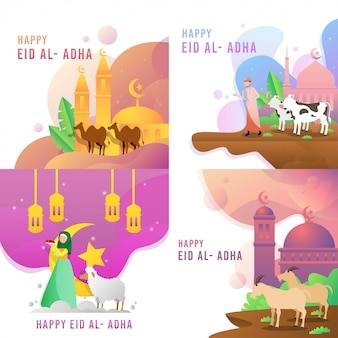 Happy eid al adhaベクターデザイン