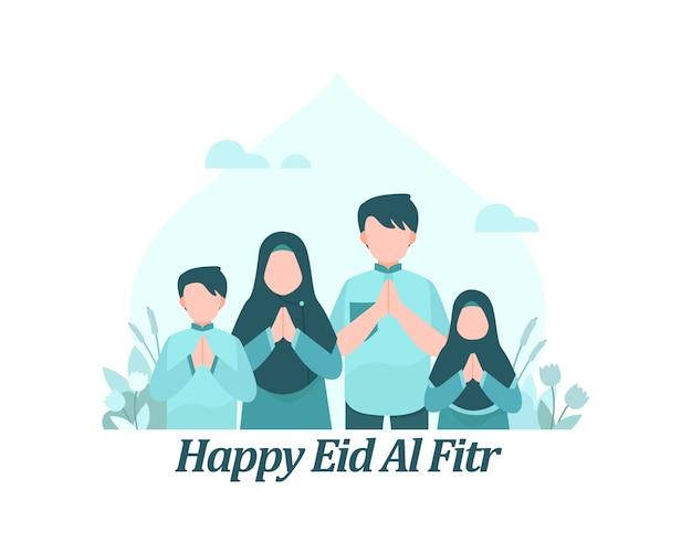 Счастливый ид аль фитр фон с мусульманскими семьями