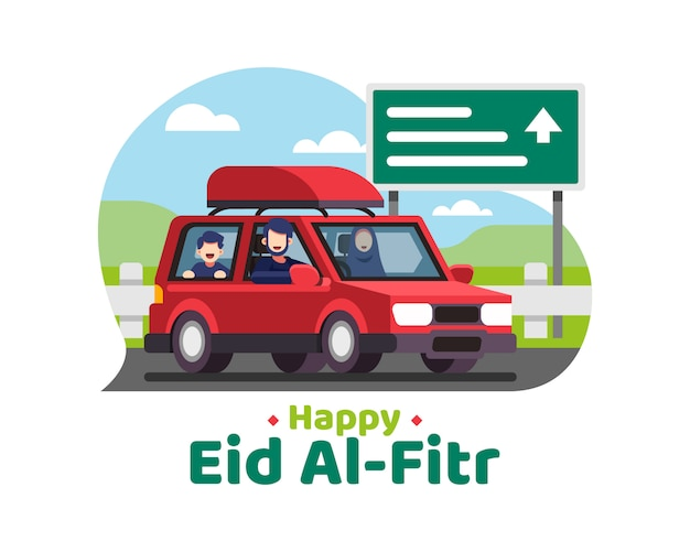 Happy eid al fitr background with moslem family goes on holiday using a car