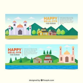 Счастливые баннеры eid al fitr в плоском дизайне