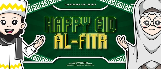 Happy eid al fitr editable text effect with illustration cute cartoon character of muslim people