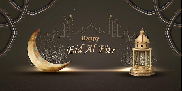 Happy eid al fitr исламская открытка с фонарем и полумесяцем