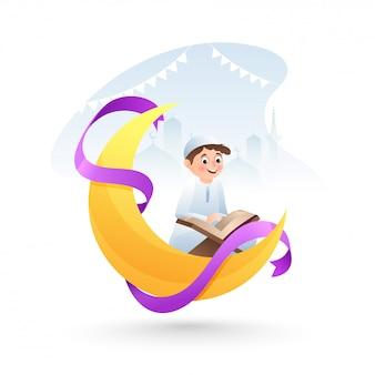 Happy eid al-fitr mubarak, cartoon character