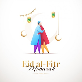 Happy eid al-fitr mubarak, clean design with characters