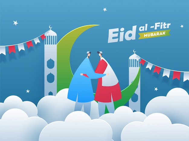 Happy eid al-fitr mubarak, faceless muslim men hugging each other. creative bunting decoration