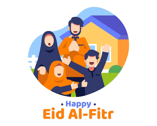Happy eid al fitr фон с иллюстрацией мусульманской семьи