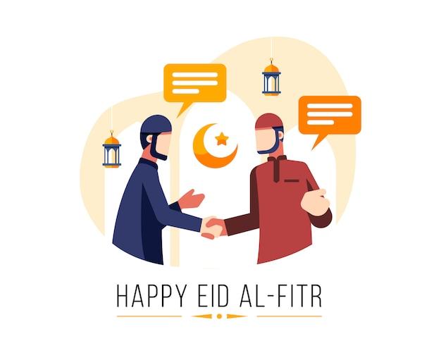 Happy eid al fitr фон с двумя мужчинами-мусульманами приветствуют друг друга и пожимают друг другу руки