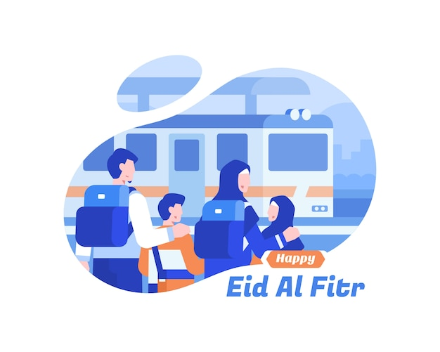 Happy eid al fitr фон с мусульманской семьей, используя поезд транспорт иллюстрации