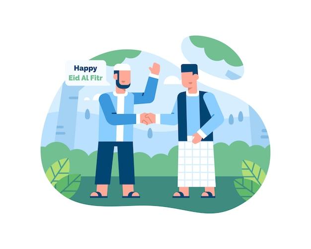 Happy eid al fitr иллюстрация с двумя мужчинами приветствуют друг друга и пожимают друг другу руки