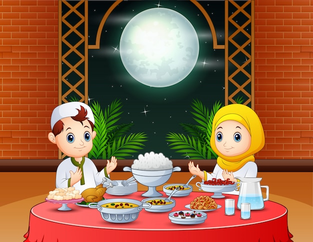 Happy eid invitation with muslim people preparing iftar