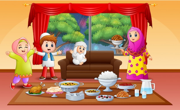 Happy eid invitation with muslim people preparing iftar