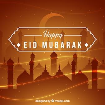 Happy eid mubarak background brown design