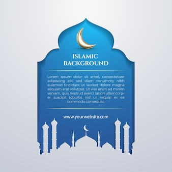 Happy eid mubarak greeting card social media template with blue islamic background paper cut style