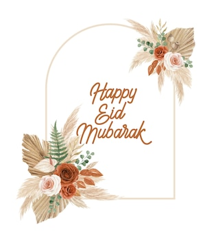 Happy eid mubarak greeting card template with bohemian floral arch