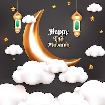 Счастливый ид мубарак поздравительная открытка с луной и исламским фонарем мультяшном стиле