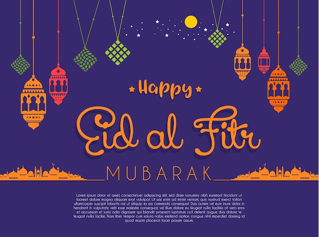 Happy eid mubarak greeting card