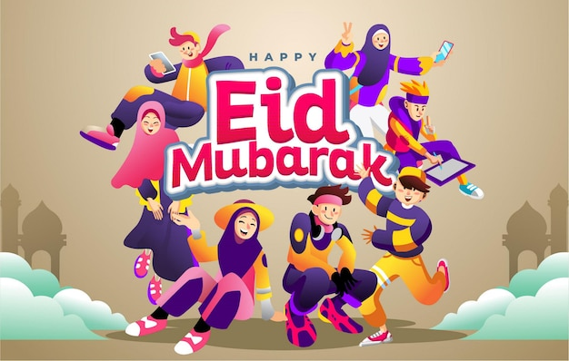 Happy eid mubarak holiday with cheerful and purple suit young moslems