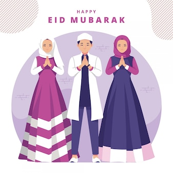 Happy eid mubarak illustration greeting card