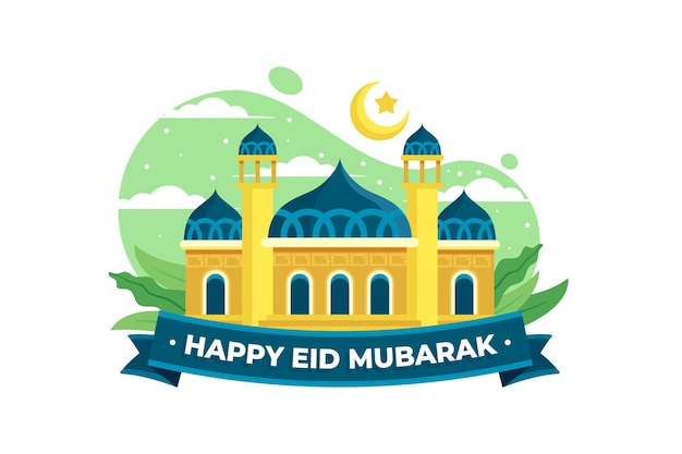 Happy eid mubarak mosque and blue ribbon