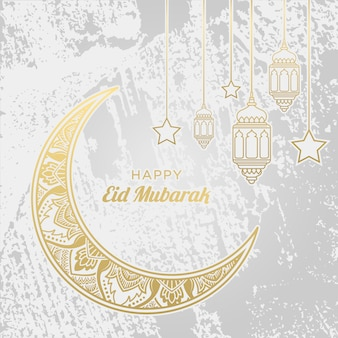 Happy eid mubarak ornament on white background