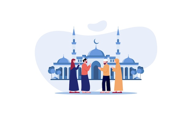 Happy eid mubarak, ramadan mubarak greeting concept with people character illustration
