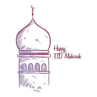 Happy eid mubarak sketch greeting with mosque illustration