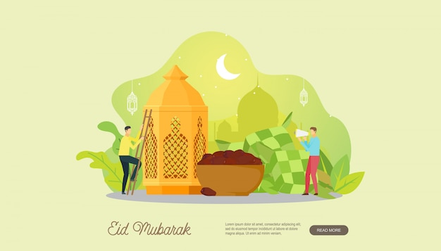Happy eid mubarak with people character landing page