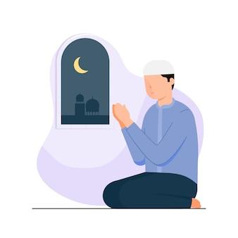 Happy eid mubarak with people character praying concept.