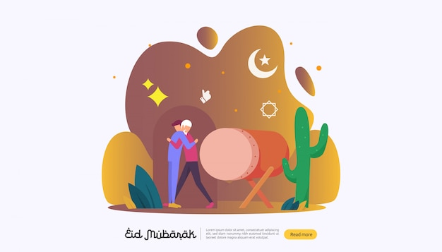 Happy eid mubarak with people character for web landing page