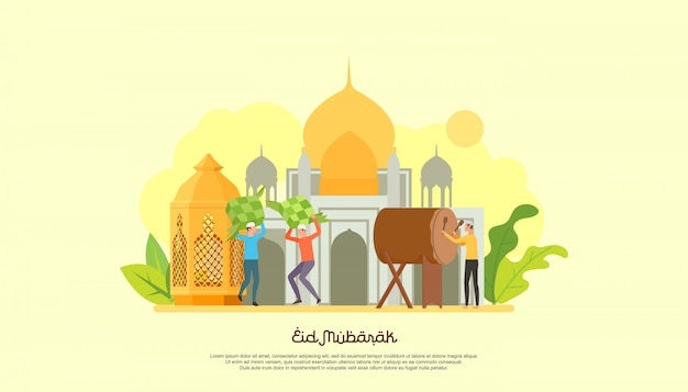 Happy eid mubarak with people character.