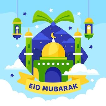 Плоский дизайн happy eid mubarak зеленая и желтая мечеть