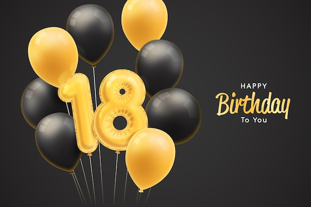 Happy eighteenth birthday background with realistic balloons