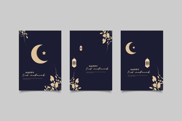 Happy eiid mubarak greeting card collection