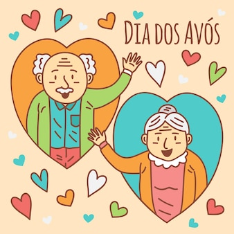 Happy elder couple avatars in heart shapes