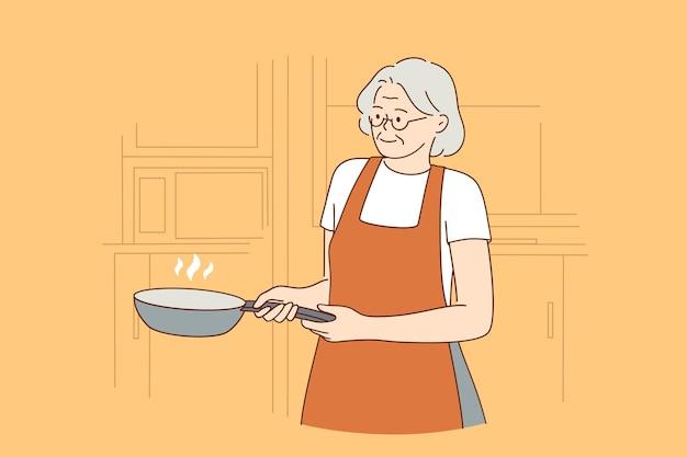 행복 한 노인 요리 라이프 스타일 개념