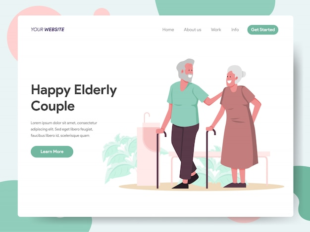 Happy elderly couple banner for landing page