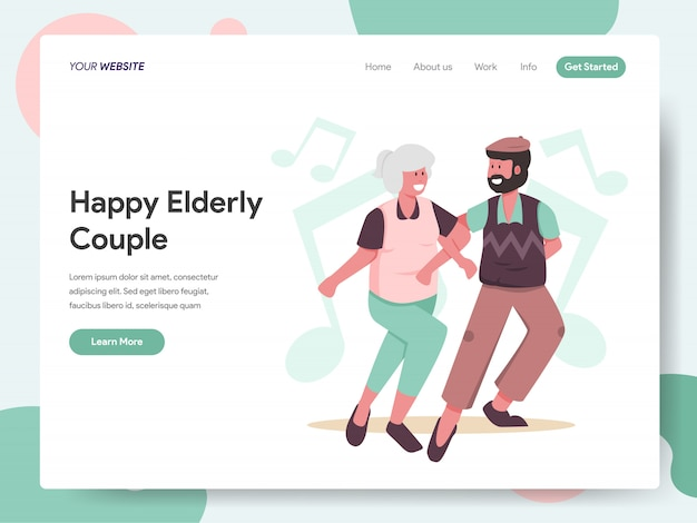 Happy elderly couple dancing together banner for landing page