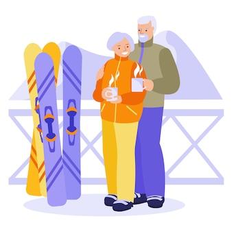 Счастливая пожилая пара, пить горячий чай, кофе на горнолыжном курорте. понятие о счастливых отношениях, активном досуге пожилых людей. векторная иллюстрация в плоском стиле.