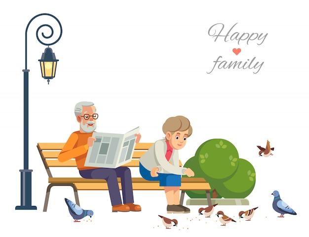Happy elderly couple feeding the birds on a park bench, isolate on white .