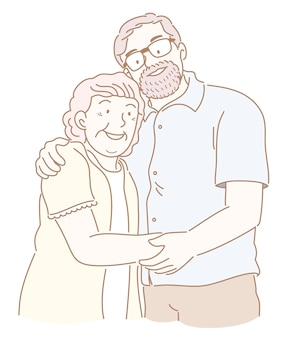 Счастливая пожилая пара держит друг друга за руку иллюстрации