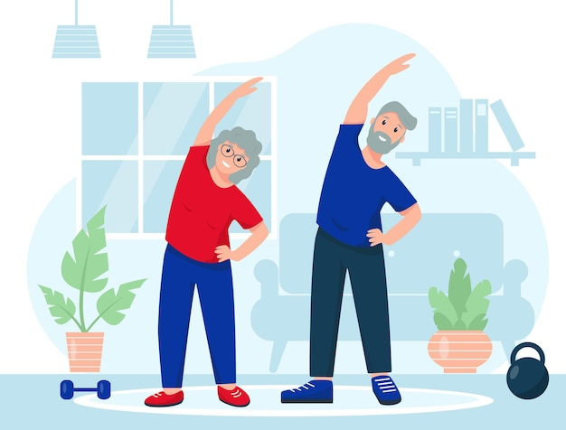 Happy elderly couple sports at home. fitness training exercises, healthy lifestyle or sport online concept.