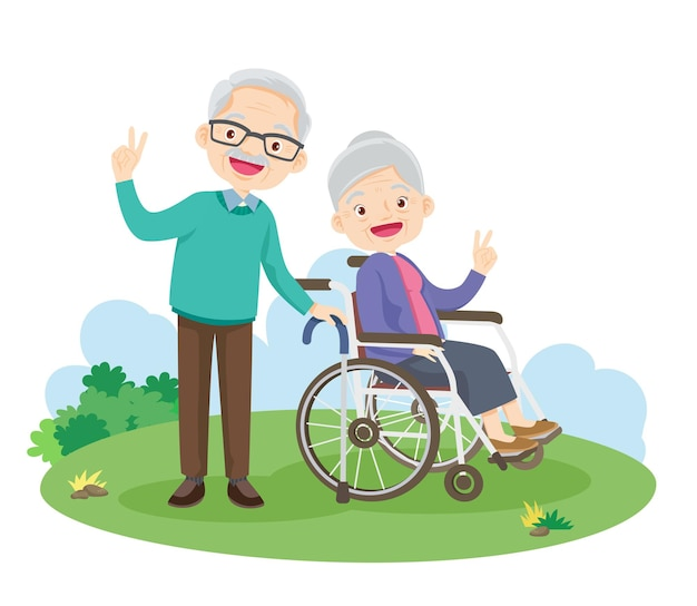 Happy elderly gesture victory hand sitting on wheelchair in the park.