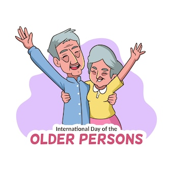 Happy elderly people with hands in the air