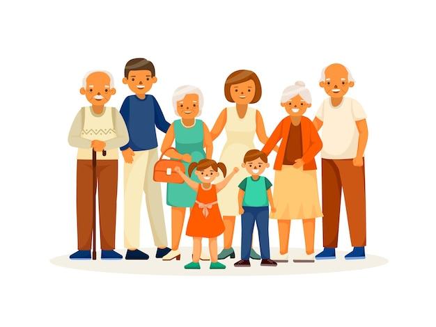 Счастливые пожилые люди с семьей