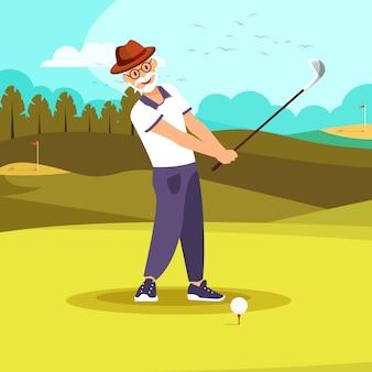 Happy elderly vigorous bearded man playing golf.