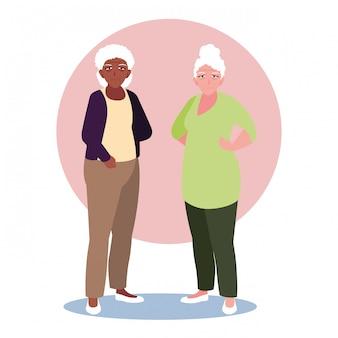Happy elderly women sharing at home
