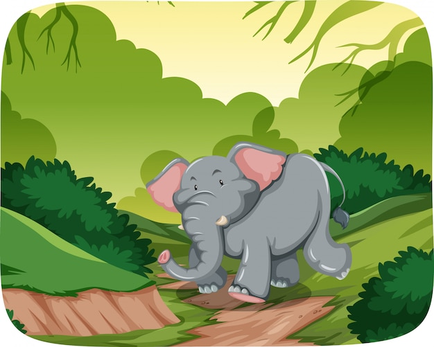 Happy elephant in jungle scene