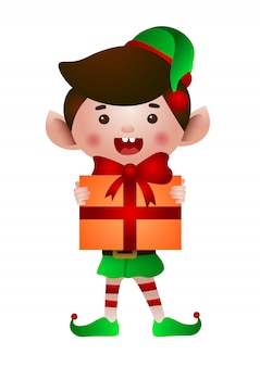 Happy elf holding christmas present illustration